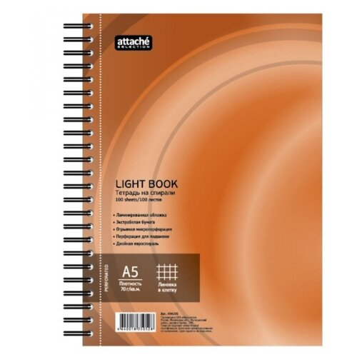 Купить Attache SELECTION Бизнес-тетрадь LightBook А5, клетка, 100 л., оранжевый, Тетради