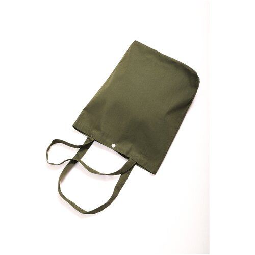 Сумка на пояс, хлопок, полиэстер, оливковый, текстильная эко-сумка-шоппер из однотонной саржи Оланж Ассорти с карманом и застежкой-кнопка