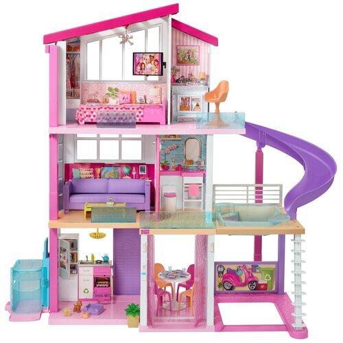 Barbie Дом мечты трехэтажный с лифтом и мебелью GNH53, розовый