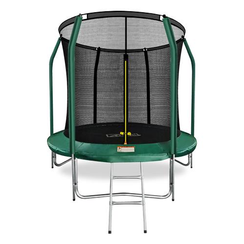 Фото - Батут премиум 8FT с внутренней страховочной сеткой и лестницей (Dark green) ARLAND каркасный батут arland премиум 16ft с внутренней страховочной сеткой и лестницей dark green