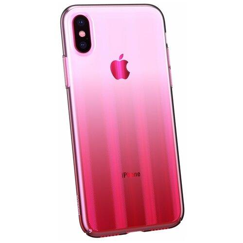 Фото - Чехол-накладка Baseus Aurora case для Apple iPhone X Transparent Pink чехол накладка baseus thin case для apple iphone x black