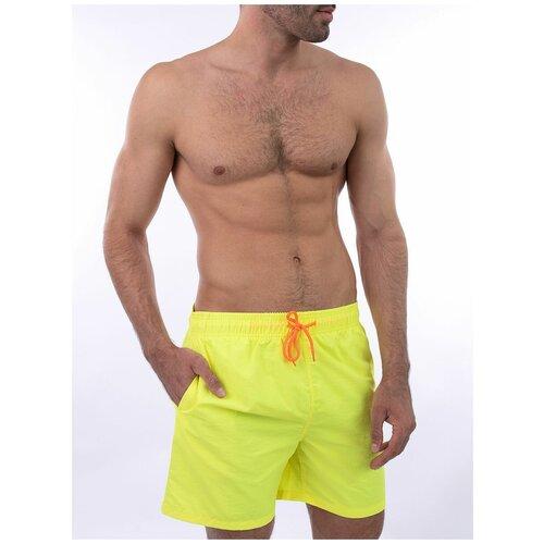 Плавательные шорты мужские однотонные , шорты с сеткой внутри, желтый цвет, размер M