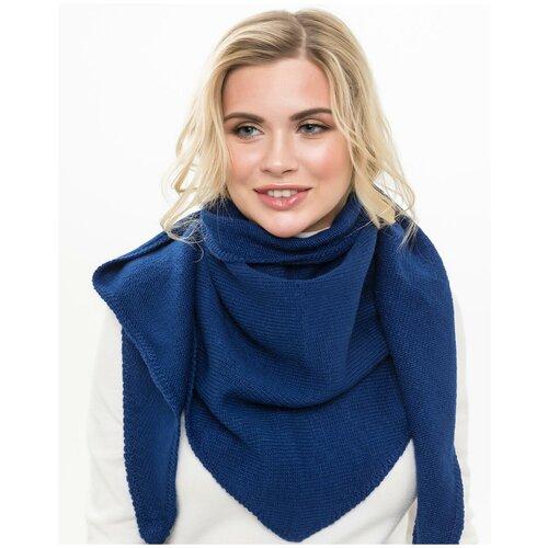 Женский теплый шарф-платок из шерсти, ТМ Reflexmaniya, цвет - синий.
