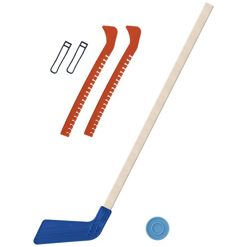 Набор зимний: Клюшка хоккейная синяя 80 см.+шайба + Чехлы для коньков оранжевые, Задира-плюс