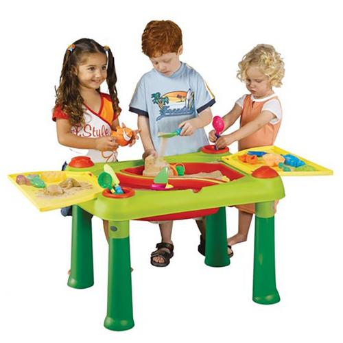 Столик-песочница для творчества Keter Creative Sand and Water для игры с водой и песком Зелёный/красный