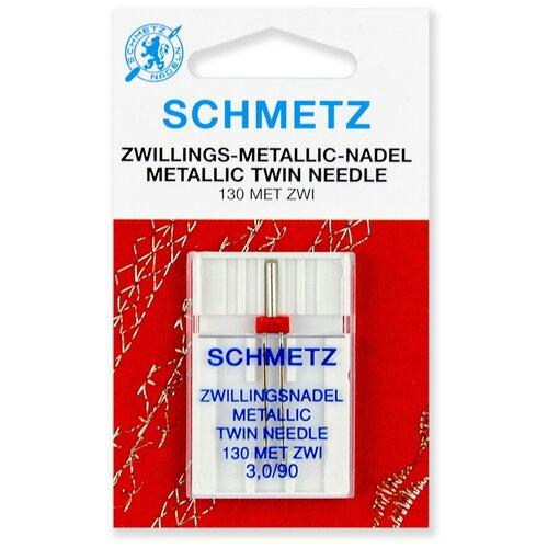 Игла/иглы Schmetz Metallic 130 MET ZWI 3/90 двойная для металлизированных нитей серебристый игла иглы schmetz 130 705 h zwi 4 90 двойные универсальные серебристый