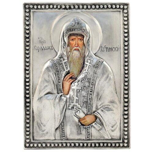 Икона Святой Варлаам Хутынский (посеребрённый оклад), 8.5х12.2 см