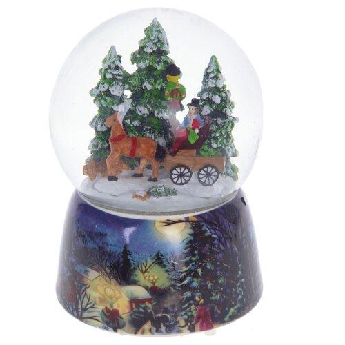 Снежный шар РЕМЕКО Телега 10 х 10 х 14.5 см синий