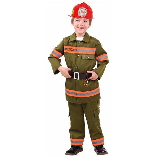 Фото - Костюм пуговка Пожарный (7002 к-20), зеленый/оранжевый/красный, размер 128 костюм пуговка кузнечик 2080 к 20 зеленый размер 128