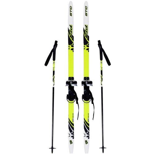 Фото - Беговые лыжи STC Step Kid Combi с креплениями, с палками черный/белый/желтый 110 см беговые лыжи stc step kid combi черный белый желтый 110 см