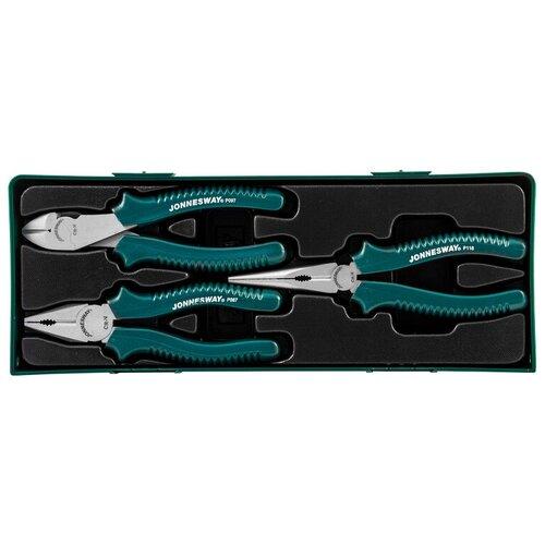 Фото - Набор шарнирно-губцевого инструмента JONNESWAY P0803ST, 3 предм., зеленый набор шарнирно губцевого инструмента harden 560179 3 предм черный оранжевый