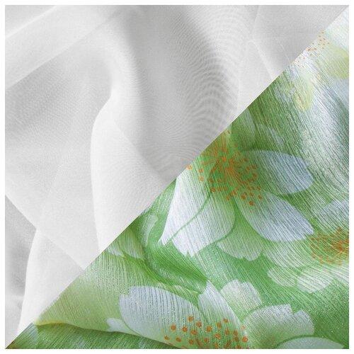 Штора для кухни Witerra 140*160 см, зеленый, левая, полиэстер 100% штора для кухни izkomoda sh140iv001 белый 140 40 лен