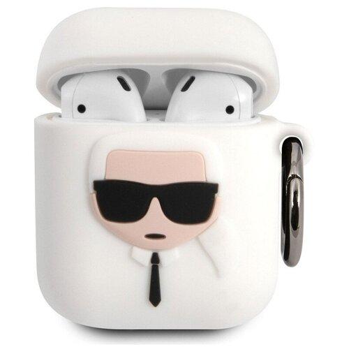 Чехол Karl Lagerfeld Silicone case KLACCSILKHWH Karl для Airpods (White)