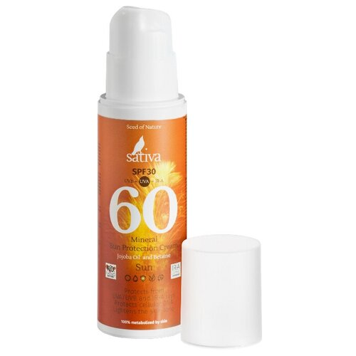 Купить Sativa Крем минеральный солнцезащитный №60 SPF 30 150 мл