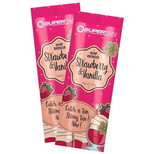 Крем для загара в солярии SUPERTAN Strawberry & Vanilla 2*15 мл крем для загара в солярии supertan lemongrass and orange с антицеллюлитным действием 15 мл