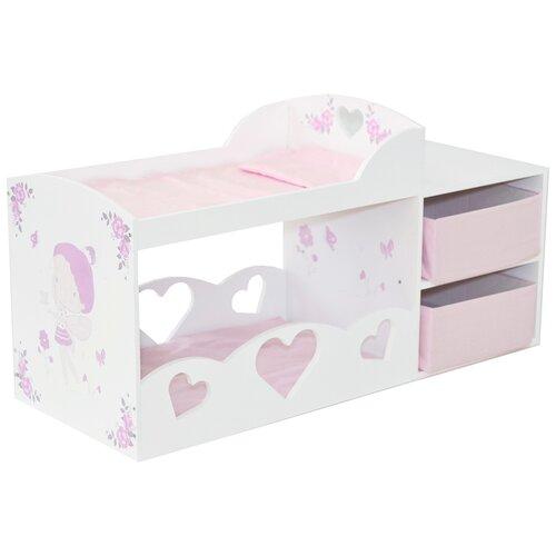 Купить PAREMO Кроватка для кукол двухъярусная, с системой хранения, Пьемонт Мини, Антонелла (PRT220-04M) белый/розовый, Мебель для кукол