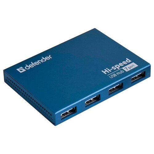 USB-концентратор Defender Quadro Septima Slim (83505), разъемов: 7, синий
