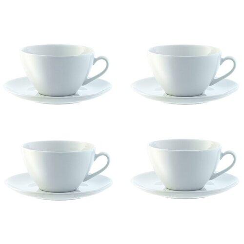 LSA Набор чайных пар Dine 4 шт, 220 мл белый lsa набор кофейных пар fir metallic 4 предмета 100 мл белый золотистый