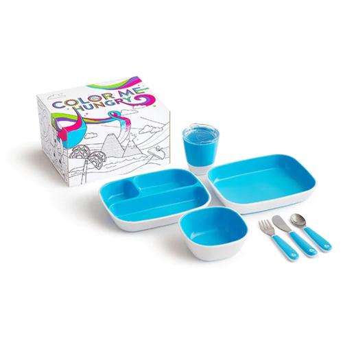 Фото - Munchkin набор посуды 3 миски, стаканчик, столовые приборы голубой набор посуды splash 7 предметов 3 миски стаканчик столовые приборы ц фиолетовый