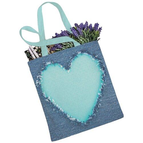 Сумка JoyArty, текстиль, синий/бирюзовый