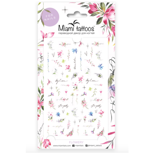 Купить Слайдер дизайн Miami tattoos Flowery by Aksinya Tattoo розовый/голубой/зеленый