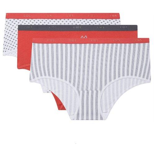 DIM Набор трусов хипстеры Les Pockets Coton Stretch, 3 шт., размер 36/38, белый/синий