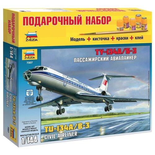 Купить Сборная модель ZVEZDA Пассажирский авиалайнер Ту-134А/Б-3 (7007PN) 1:144, Сборные модели