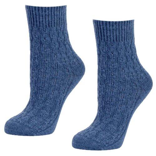 Женские синие шерстянные мягкие носки 2 пары, р-р 35-37