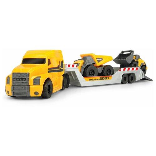 Фото - Грузовик прицеп с двумя автомобиляи Volvo: горнорудной грузовик, погрузчик, 9 см, подвижные части, 32 см Dickie Toys 3725005 анастасия орлова это грузовик а это прицеп