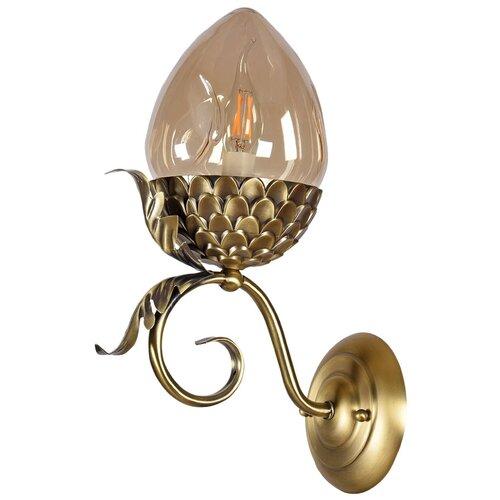 Настенный светильник Люмьен Холл Olivi 3304/1W-ABPAB-AM, E14, 60 Вт, кол-во ламп: 1 шт., цвет арматуры: бронзовый, цвет плафона: желтый