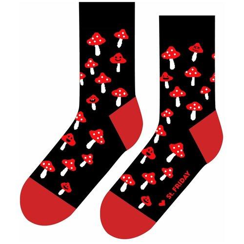 Носки St. Friday Грибной дождь, размер 34-37, черный/красный/белый носки st friday кислотный диджей размер 34 37 белый