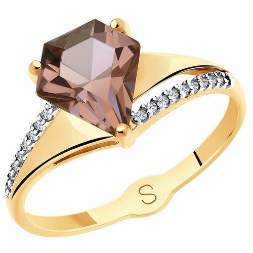 SOKOLOV Кольцо из золота с султанитом ситаллом и фианитами 715556, размер 18.5