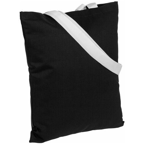Сумка-шоппер BrighTone, черная с белыми ручками