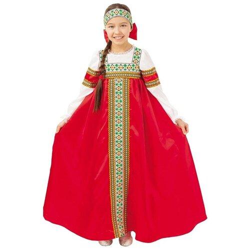 Купить Костюм пуговка Марьюшка (2016 к-18), красный, размер 128, Карнавальные костюмы