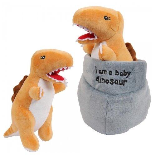 Купить Мягкая игрушка ABtoys Dino Baby Динозаврик коричневый в яйце, 17см, Мягкие игрушки