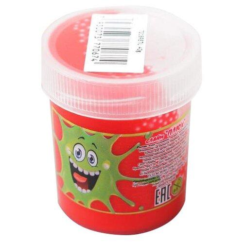 Лизун Плюх с шариками в тубе красный