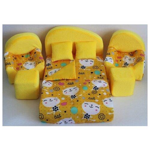 Мягкая мебель для кукол кровать, 2 кресла, 2 пуфа, 2 подушки, одеяло 003/2-30 недорого