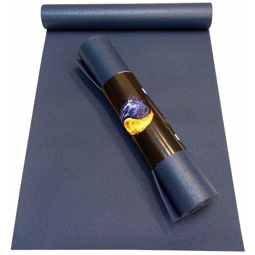 Коврик RamaYoga Yin-Yang Studio, 173х60х0.45 см синий однотонный