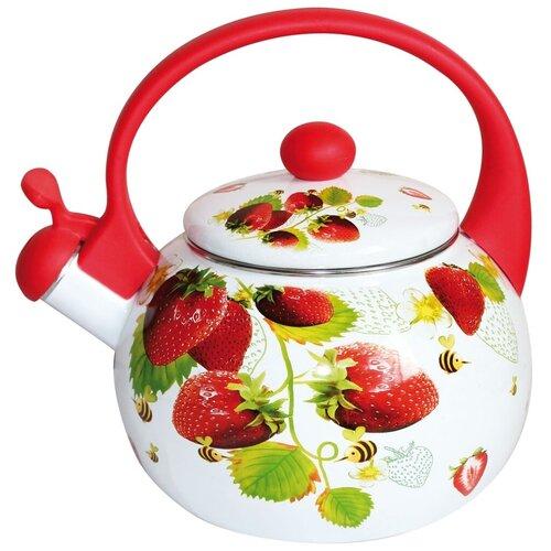 Фото - Rainstahl Чайник 7541-22RS\WK 2,2 л, белый/красный сковорода rainstahl 9512 22rs fp 22 см с крышкой