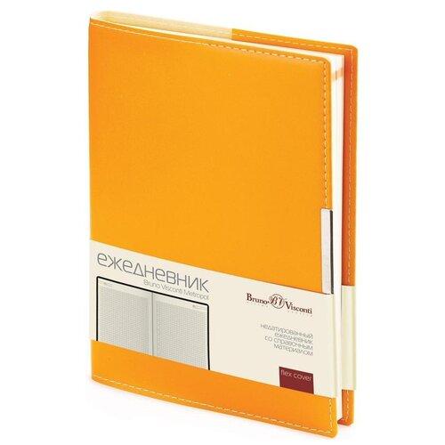 Купить Ежедневник Bruno Visconti Metropol недатированный, искусственная кожа, А5, 136 листов, оранжевый, цвет бумаги тонированный, Ежедневники