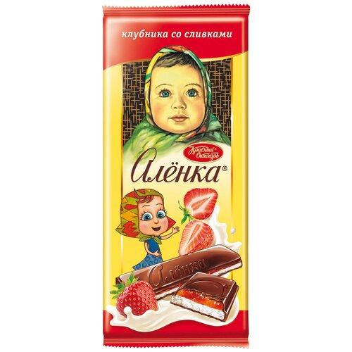 шоколад алёнка молочный порционный с молочной начинкой 100 г Шоколад Алёнка молочный с начинкой клубника со сливками, 87 г