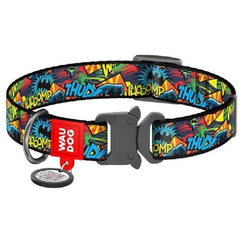Фото - WauDog Ошейник для собак Nylon с рисунком Бэтмен Яркий (ширина 15 мм, длина 23-35 см) ошейник для собак collar waudog с рисунком цветы 15 мм 27 36 см черный