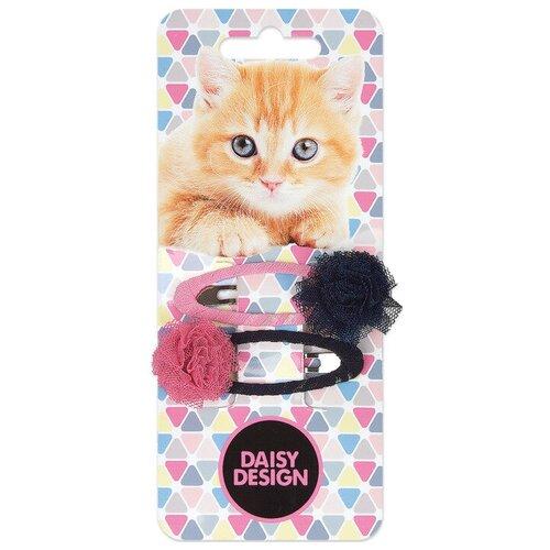 Заколка клик-клак Daisy Design Kittens. Марго 2 шт. черный/розовый аксессуары daisy design набор аксессуаров для волос kittens дымка