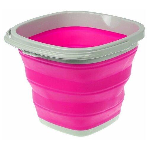 Ведро складное силиконовое квадратное 5л розовое