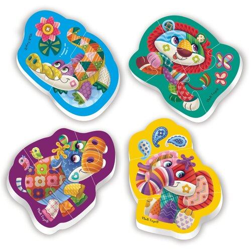 Мягкие пазлы Baby Puzzle Чудо зоопарк 4 картинки, 12 эл., Vladi Toys, Пазлы  - купить со скидкой