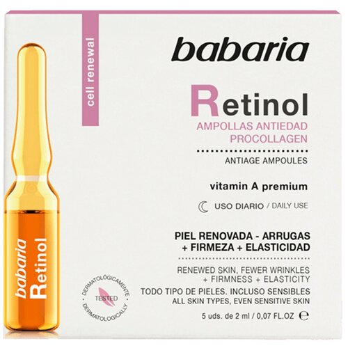 Сыворотка для лица Babaria с Ретинолом и Проколлагеном против старения кожи в ампулах. Витамин А премиум.5шт х 2 мл