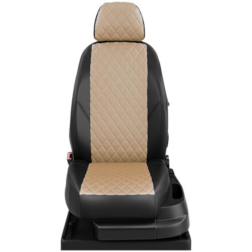 Авточехлы для ВАЗ 2114-2115 с 1997-2012г. седан Задние спинка и сиденье единые, 4 подголовника, (все 4 подголовника одинакового размера). (Лада 2114-2115). ЭК-04 бежевый/чёрный ромб: Бежевый