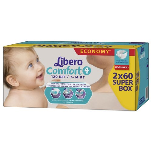 Libero подгузники Comfort 4 (7-14 кг) 120 шт. подгузники для малышей libero newborn 2 3 6 кг 94 шт