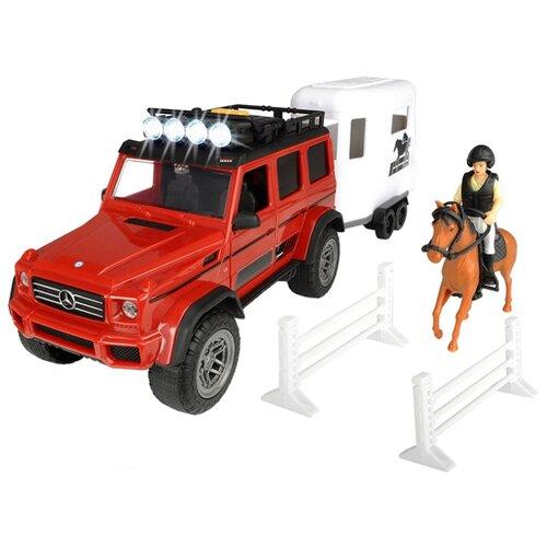 Купить Набор машин Dickie Toys Playlife Horse Trailer (3838002) 1:24 красный/белый, Машинки и техника