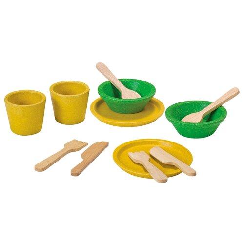 Набор посуды PlanToys 3605 желтый/зеленый/бежевый губки для посуды arix lindy целлюлозные цвет желтый зеленый 2 шт